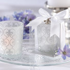 "Kate Aspen """"Fleur-de-lis"" Frosted-Glass Tea Light Holder (set of 4) """