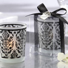 "Kate Aspen """"Damask Traditions"" Frosted Glass Tea Light Holder with Kate Aspen Signature Charm (Set of 4) """