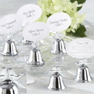 "Kate Aspen """"Lovebirds"" Silver-Finish Kissing Bell Place Card Holder (Set of 24)"""