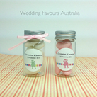 """Mini Clear Favour Bottle with Lid - Love Birds Sticker Design"""