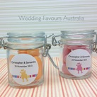 """Personalised Mini Glass Favour Jars - Love Birds Sticker Design"""