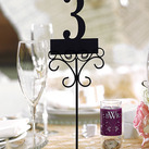 """(Set of 6) Tall Ornamental Wire Wedding Stationery Holders in Matte Black """