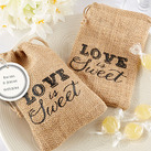 """Love is Sweet"" Burlap Drawstring Favor Bag"