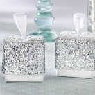 """(Set of 24) ""Sparkle and Shine"" Silver Glitter Favor Box """