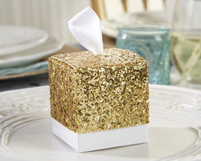"""(Set of 24) ""All That Glitters"" Gold Glitter Favor Box"""