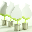 """(Set of 4) Tulip In Silver Pot Place Card Holder"""
