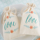 "(Set of 12) ""In Bloom"" Botanical Muslin Favor Bags"