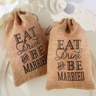"""Eat, Drink and Be Married"" Burlap Favor Bags (Set of 12)"