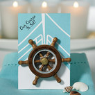 """""Our Course is Set"" Boat Wheel Magnet Favour Gift (set of 6)"""