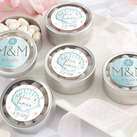 (Set of 12) Personalised Silver Round Candy Tin - Beach Tides