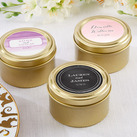 (Set of 12) Personalised Gold Round Candy Tins - Wedding