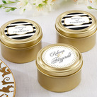 (Set of 12)  Personalised Gold Round Candy Tins - Classic