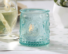 """Vintage"" Blue Glass Tealight Holder (Set of 4)"
