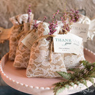 (Set of 12) Rustic Chic Burlap And Lace Drawstring Favour Bag