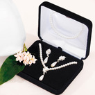 Double White Pearls With Pearl Drop 3 Piece Set