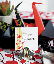 """Silver Fortune Cookie Place Card Holders (set of 8)"""