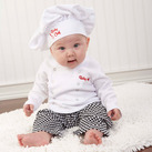 "Baby Aspen """"Big Dreamzzz"" Baby Chef Three Piece Layette in Culinary Themed Gift Box"""