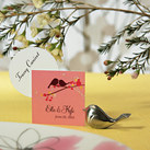 """LOVE BIRD CARD HOLDERS WITH BRUSHED SILVER FINISH (Set of 8)"""