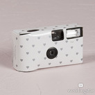 Single Use Disposable Camera - White And Silver Hearts Design