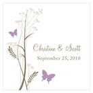 """Personalised Square Romantic Butterfly Wedding Favour Tag (Set of 20)"""