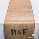 Personalised Long Burlap Table Runner With Equestrian Monogram