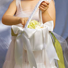 """Flower Girl Basket with Classic Double Faced Satin Ribbon Bows"""