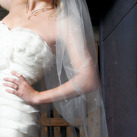 Classic Wedding Veil With A Scattering Of Pearls Along A Cut Edge