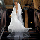 Standard Tulle Two Tier Floor Length White Wedding Veil