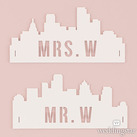 Personalised Industrial Cityscape Silhouette White Acrylic Mr and Mrs Wedding Chair Sign (Set of 2)