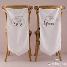 Feather Whimsy Bride And Groom Wedding Chair Decorations / Banner Set
