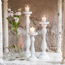 Shabby Chic Spindle Candle Holders Set (Set of 3)