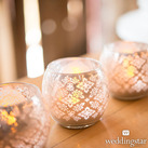 Small Glass Globe Votive Candle Holders With Reflective Lace Pattern (Set of 6)