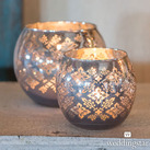 Large Glass Globe Votive Candle Holders With Reflective Lace Pattern (Set of 4)