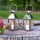 Stainless Hanging Candle Holders or Lantern With Glass Panels