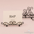 (Set of 6) Low Ornamental Wire Wedding Stationery Holders in Matte Black