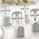 """Miniature Silver Chair Favor Box w/ Heart Charm & Ribbon (Set of 12)"""