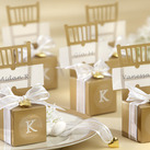 """Miniature Gold Chair Favor Box w/ Heart Charm & Ribbon (Set of 12)"""