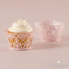 (Set of 12) Lace Hearts Filigree Paper Cupcake Wrappers