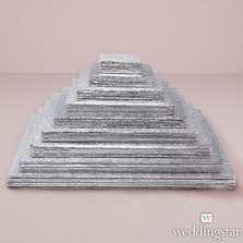 (Set of 6) Square Foil Wrapped Wedding Cake Boards Accessory