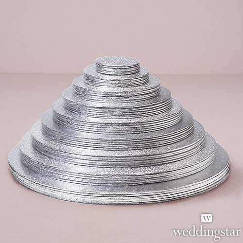 Set Of 6 Foil Wrapped Round Cake Boards For Wedding Cake Display - Wedding Cake Boards