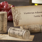 """""Maison du Vin"" Wine Cork Place Card/Photo Holder with Grape-Themed Place Cards (Set of 4)"""