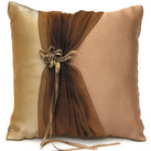 Bronze Elegance Wedding Ceremony Square Ring Bearer Pillow