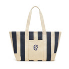 Large Striped Canvas Tote Bag - Navy Bridal Party Gifts
