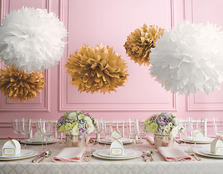 """Martha Stewart Gold White Pom Poms Set (Set of 5)"""