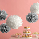 """Martha Stewart Silver White Pom-Poms Set (Set of 5)"""