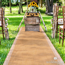Burlap Wedding Aisle Runner With Delicate Lace Borders