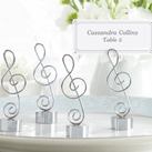"(Set of 4) ""Love Songs"" Silver-Finish Music Note Place Card/Photo Holder"