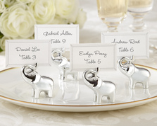 "Kate Aspen ""Lucky in Love"" Silver-Finish Lucky Elephant Place Card/Photo Holder (Set of 4)"