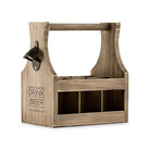 Personalised Wood Bottle Caddy With Opener - Drink Beer Etching