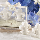 "Kate Aspen """"Fleur-de-Lis"" Ceramic Salt & Pepper Shakers"""